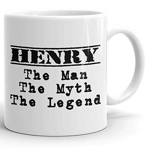 MugMax The Man the Myth the Legend D1 Ceramic Coffee Mug Personlized Henry White 11 oz