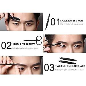 Eyebrow Grooming Suit Kits - 13 PCS Stainless Steel Eyebrow Scissors Utility Tools, Professional Eye Brow Groom Set with Eyebrow tweezers, Shaping Razor, Pen, Brush, DIY Shape Card (BLACK)