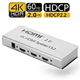 Unnlink 2 Ports HDMI Splitter 1x2 HDMI 2.0 HDCP 2.2 4K@60Hz HDR 1 in 2 Out RGB YUV4:4:4 18Gbps Bandwidth HDR 3D Support IR Remote RS232 Control