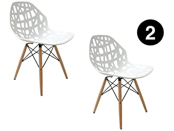Ibh Design Lot 2 Chaises Madrid Blanc Chaise Scandinave Chaise Salle A Manger