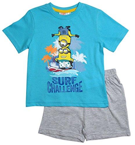 Minions Pyjama Kollektion 2016 Shortie 92 98 104 110 116 122 128 Shorty Kurz Schlafanzug Blau-Grau (122 - 128, Blau-Grau)
