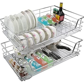 Yosoo - Cajón telescópico de cocina con bandeja, cajones de cocina, bandeja, bandejas