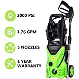 Meditool MT5 Electric Power Pressure Washer, 3000 PSI 1.76 GPM Electric Pressure Washer, High Pressure Cleaner with Hose Reel (3000PSI - 1800W)