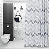 "Chevron Fabric Shower Curtain Grey,White,Striped Mold Resistant 72"" x 72"",Geometric"