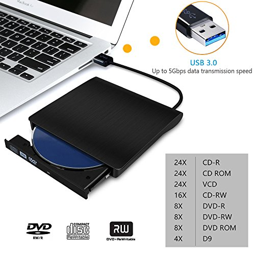 External CD Drive, Devancy Ultra-Slim USB 3.0 External DVD Drive, CD/DVD-RW Drive, DVD/CD Rom Rewriter Burner Writer, High Speed Data Transfer for Laptop Desktops Win 7, 8, 10, Mac OS and Linux OS by Devancy (Image #2)