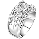 Men's Sterling Silver .925 Designer Ring Band Featuring 52 Round and Baguette Invisible and Channel Set Cubic Zirconia (CZ) Stones Jewelry
