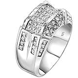Anillo de diseño de .925 de plata de ley para hombre, banda de anillo con 52 esferas redondas y de baguette, piedras de zirconio cúbico (CZ) y canal invisible (6)