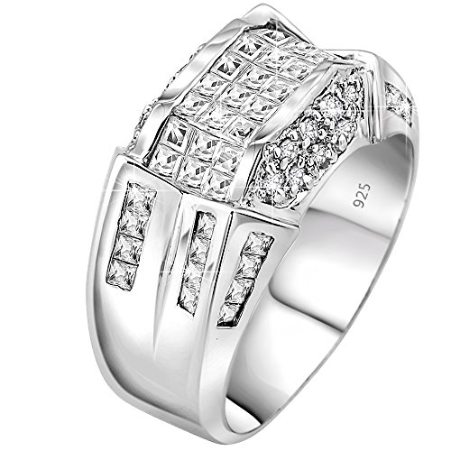 Men's Sterling Silver .925 Designer Ring Band Featuring 52 Round and Baguette Invisible and Channel Set Cubic Zirconia (CZ) Stones (Mens White Gold Pinky Ring)