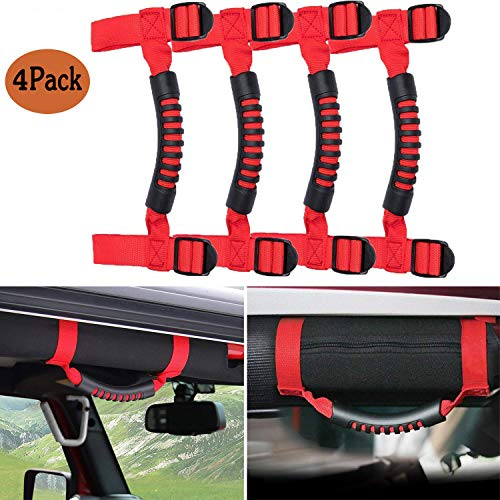 4 x Grab Handles Grip Handle Red Holder Roll Bar Grab Handles for Jeep Wrangler JK Unlimited Rubicon 1955-2018(Red)