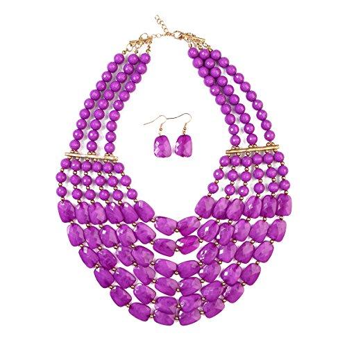 RIAH FASHION Popular Faceted Acrylic Jewel Bead Statement Necklace Set - Bold Multi-Layered Beaded Bib Collar for Women (Purple)