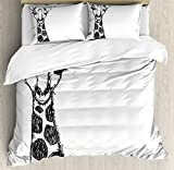 Ambesonne Black and White Queen Size Duvet Cover Set, Cute Graphic of Safari Giraffe Tall Neck Spots West African Wild Character, Decorative 3 Piece Bedding Set with 2 Pillow Shams, Grey White