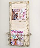 Vintage Distressed Wall Mounted Shutter- Magazine Rack