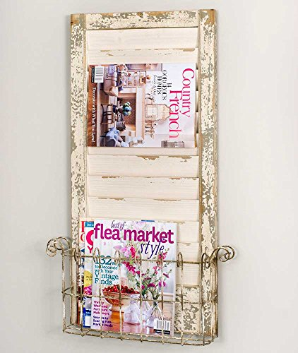 Vintage Distressed Wall Mounted Shutter- Magazine Rack by Colonial Tin Works