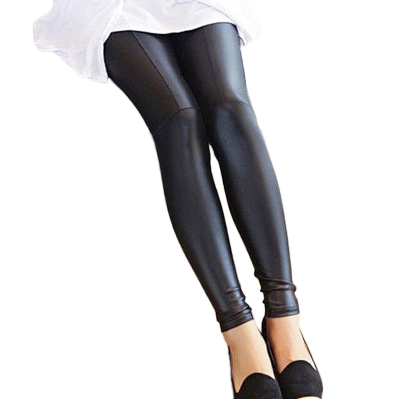 Frauen Fashion Jeggings Skinny PU Hose Size M L XL XXL Schwarz