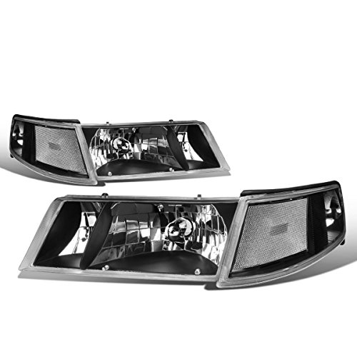 - For Mercury Grand Marquis 3rd Gen Pair of Black Housing Clear Corner Headlight + Corner Lights