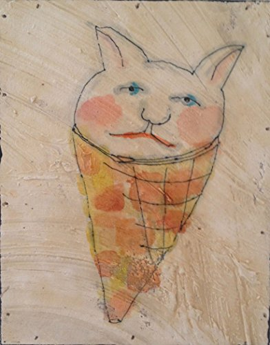 Cat Cone! Cat Ice Cream Cone Panting. Watercolor fresco. o*Live ORIGINAL by o*Live