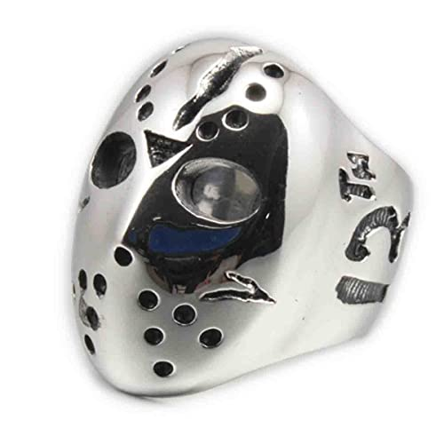 linsion Anillo de acero inoxidable Jason máscara de Halloween 316L motorista de Hockey Rock Punk 3