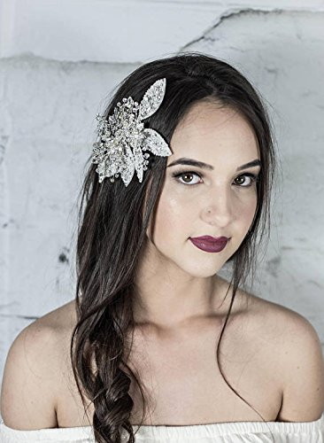 Bridal Hair Comb, White Pearl Headpiece, Floral Hairpiece, Hair Jewelry with petals, leaves, Prom hair accessories by Hair Floaters