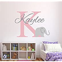 Wall Decal Letters Personalized Elephant Name Wall Decal For Girls - Baby Girl Decor - Nursery Wall Decals - Elephant Decor (26Wh)for Living Room