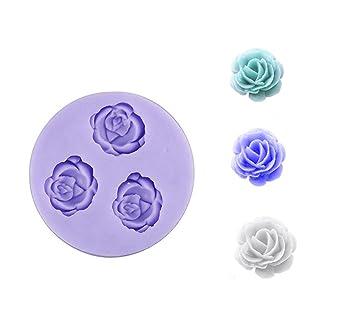Eworld Mini - Rosa Flores Silicona mold- Fondant Azúcar Candy decoración de pasteles molde: Amazon.es: Hogar