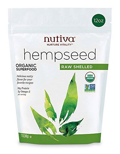 Nutiva Organic, Raw, Shelled Hempseed from non-GMO, Sustainably Farmed Canadian Hemp, 12-ounce