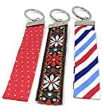 Blazing Autumn Three Fabric Wristlet/Key Fob Keyring (Red White and Blue)