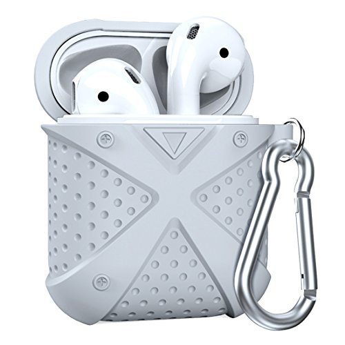 Airpods Case, MeanLove X Silicone Protective Shockproof Airpods Case Cover Shell Skin Storage with Carabiner, Case for Apple Airpods Travel (Gray)