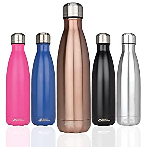 Modern Innovations Stainless Steel Portable Water Bottle Leak Proof, Double Walled, Vacuum Insulated & BPA Free - Keep Your Drink Hot & Cold Perfect for Camping, Picnic, Gym & Travel | 17 Oz (Copper)