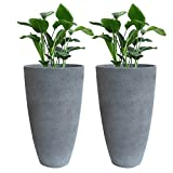 "Tall Planter Set 2 Flower Pots, 20"" Each, Patio Deck Indoor Outdoor Garden Planters, Gray"