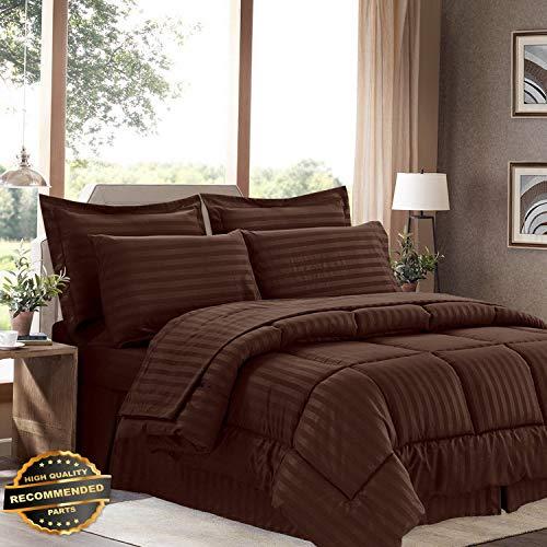 Gatton New Premium 8 Piece Bed in A Bag Hotel Dobby Embossed Comforter Sheet Bed Skirt Sham Set | LINENIENHM-182012576 King ()