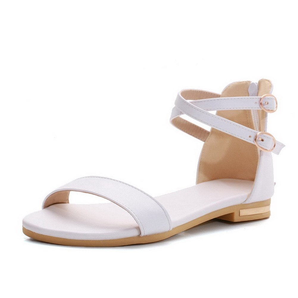 WeiPoot Women's Open Toe Low-heels Soft Material Solid Chains Sandals, White, 41