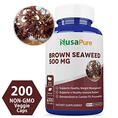 Brown Seaweed Extract 500mg 200 Veggie Capsules (Non-GMO & Gluten Free) - Fucoidan - Natural Dietary Supplement for Weight Loss & for Boosting Your Immune System ★100% Money Back Guarantee!★