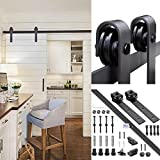 YesHom 6ft 1.83m Black Country Style European American Steel Sliding Barn Door Hardware Rail Kit for Wooden Wall
