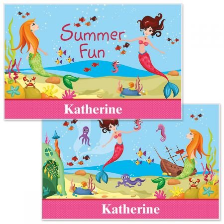 Personalized Kids Mermaid Placemat - 11 x 17W girls Reversible place mat, Laminated