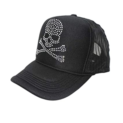 3a65dc20c83 Fashion Adjustable Skull Rhinestone Baseball Snapback Sport Hat Mesh Hiphop  Cap