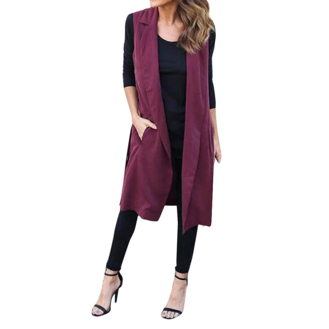DAYSEVENTH New Women Casual Elegant Sleeveless Pocket Waistcoat Long Blazer Coat DAYSEVENTH-011