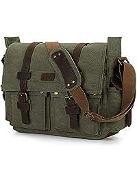 S-ZONE Vintage Canvas Genuine Leather Trim DSLR SLR Camera Shoulder Messenger Bag (Army Green)