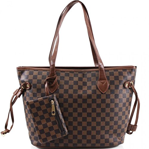 Ladies Shopper Checkered Handbag Women Top Handle Designer Party Tote bag (Brown)