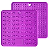 Emoly Heart-Shaped Silicone Trivet Mats Pot Holders Spoon Rest Coasters Heat Resistant Insulation Pad Kitchen Tool-Purple