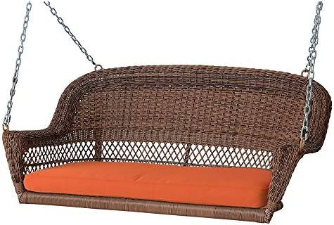 Jeco W00205S-C-FS016 Wicker Porch Swing, Honey