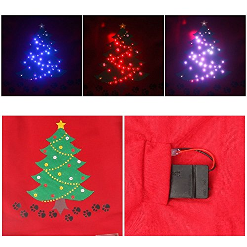 royalwise LED Christmas Dog Sweatshirt Lighted Holiday Puppy Hoodie Pet Shirt Cat Winter Warm Clothes (XL, Red)