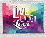 Ambesonne Live Laugh Love Decor Tapestry, Geometric Colorful Backdrop Polygonal Mosaic Happiness Quote Words, Wall Hanging for Bedroom Living Room Dorm, 60 W X 40 L inches, Multicolor