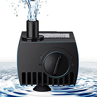 Mimiboxs Submersible Water Pump for Pond Aquarium Fish Tank Fountain with 6ft (1.87m) Power Cord 300L/H
