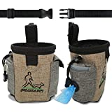 Dog Treat Training Pouch Bag – with Poop Bag Dispenser, Waist Belt – Pet Hiking Holder – Brown