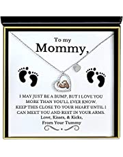 Aphrodite's Baby Feet Sterling Silver Pendant Necklace for Women, Gifts for Mom from Son Daughter, New Mom Gifts, Pregnancy Announcements, Baby Shower Gifts, Mom Birthday Gifts