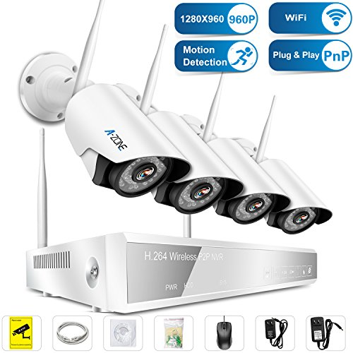 Wireless Security Camera System, A-ZONE 4CH 960P NVR With 4Pcs 1.3MP HD Indoor Outdoor Home Security Cameras with Night Vision, P2P, No HDD by A-ZONE