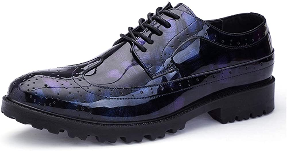 MUMUWU Fashion Oxford Casual Comfort Low Top Brogue Lace Up Patent Leather Big Size Formal Shoes Dress Shoes