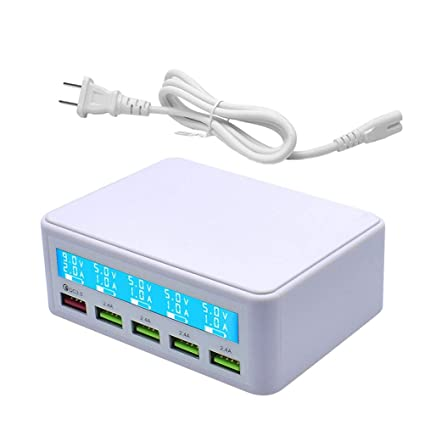 Multi USB Charger,50W 5 Port USB Fast Charger with QC 3.0 Quick Charge LCD Smart Charging Station Hub for Smartphone,Power Bank and Multiple Devices ...
