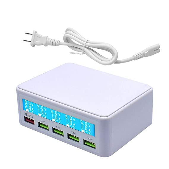 Multi USB Charger,50W 5 Port USB Fast Charger with QC 3.0 Quick Charge LCD Smart Charging Station Hub for Smartphone,Tablet,Power Bank and Multiple ...