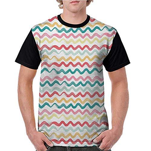 Men's Tops Blouses,Striped,Pop Art Parallel Wavy Rough Lines Flush Brush Strokes Shaggy Groovy Boho Design,Multicolor S-XXL Tee Tshirts Men